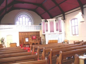 The Merssrs Drivers organ of 1860 showing the origional layout of the church, complete with pews and central pulpit