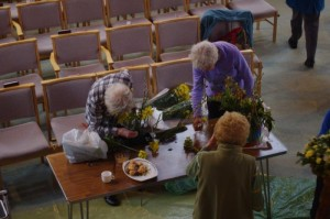 Our willing team of flower arrangers